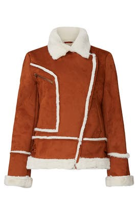 Tan Faux Shearling Moto Jacket by Halogen