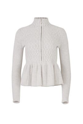Cable Knit Front Zip Cardigan by La Vie Rebecca Taylor