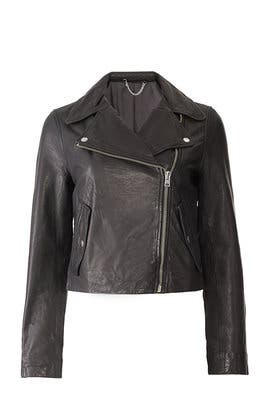 Black Washed Leather Jacket by J.Crew