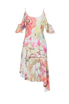 Floral Asymmetrical Pleated Dress by Josie Natori