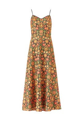 Orange Floral Midi Dress by ML Monique Lhuillier