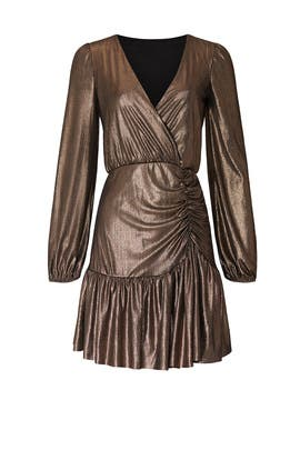 Metallic Flounce Hem Dress by Slate & Willow