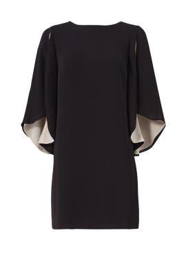 Black Cape Flutter Dress by Halston Heritage