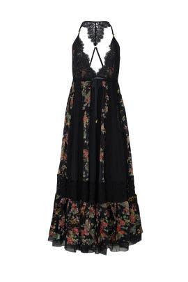 Black Floral V-neck Dress by HAH