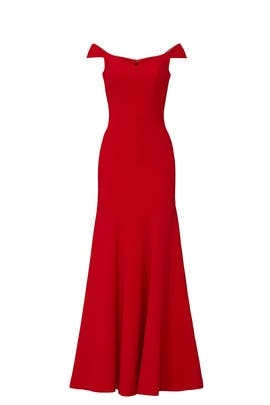 Red Crepe Off Shoulder Gown by Nicole Miller