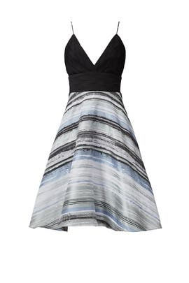 Blue Neutral Stripe Dress by Badgley Mischka