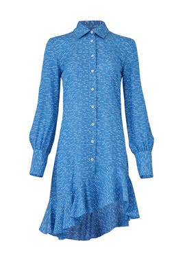 Blue Asymmetric Shirtdress by Derek Lam 10 Crosby