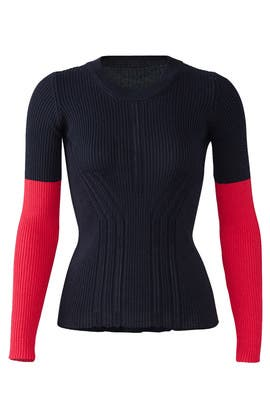Long Sleeve Colorblock Knit Sweater by Cedric Charlier
