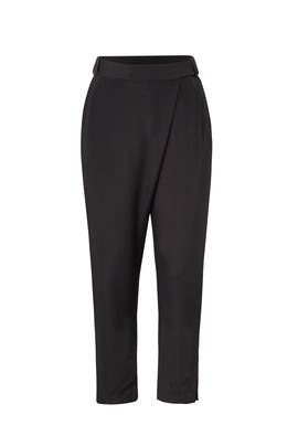 Black Wrap Front Pants by HALSTON