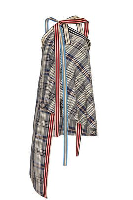Racing Stripe Plaid Top by MONSE