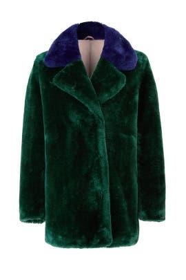 Colorblock Faux Fur Coat by PINKO