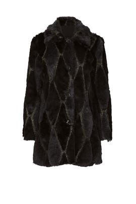 Black Diamond Faux Fur Coat by Waverly Grey