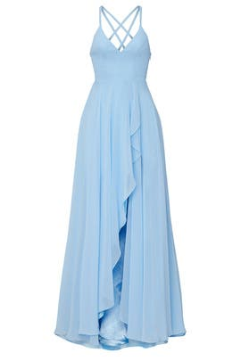 Blue Ruffle Skirt Gown by FAVIANA
