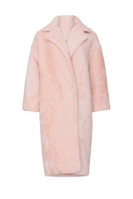 Pink Estelle Faux Fur Coat by NOIZE