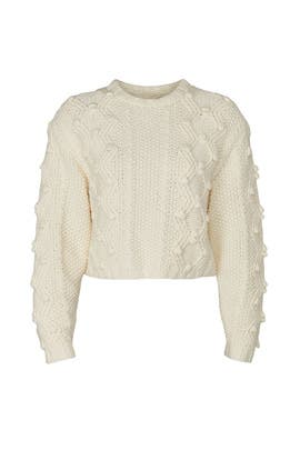 Cropped Cable-Knit Sweater by Divine Heritage
