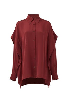 Bordeaux Button Down by Diane von Furstenberg
