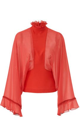 Red Mock Neck Blouse by Giamba