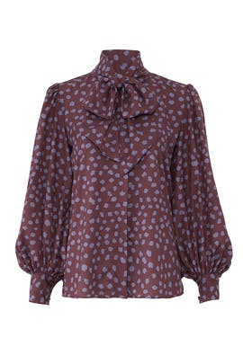 Maroon Dot Finley Blouse by Hunter Bell