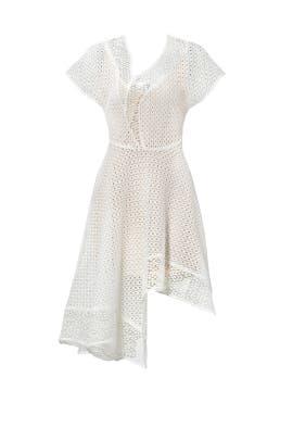 White Asymmetrical Eyelet Dress by Keepsake