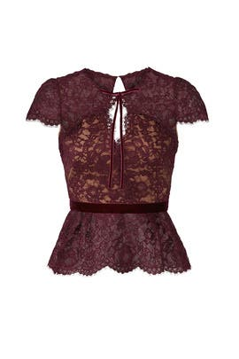 Red Lace Keyhole Top by Marchesa Notte