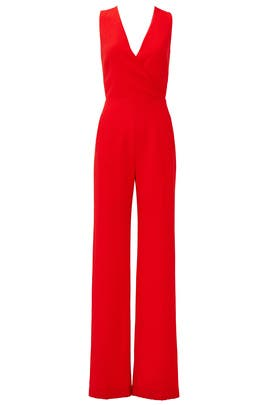 49d8f361e4f2 Red Pebbled Crepe Jumpsuit by Tory Burch for  85 -  95