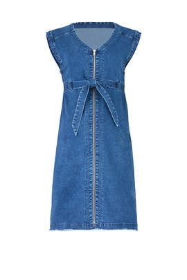 Zip Denim Maternity Dress by Ingrid & Isabel