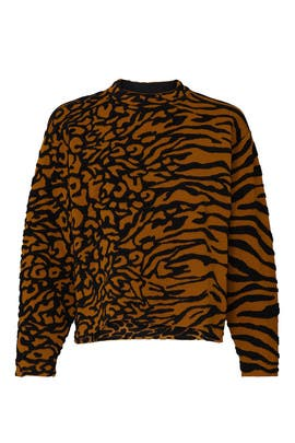 Animal Print Cropped Pullover by Proenza Schouler White Label
