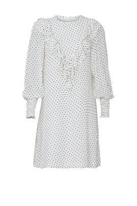 White Polka Dot Ruffle Dress by GANNI