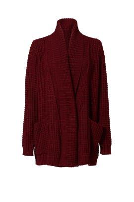 Red Waffle Knit Cardigan by John + Jenn