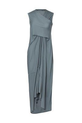Steel Draped Midi Dress by RICKOWENSLILIES