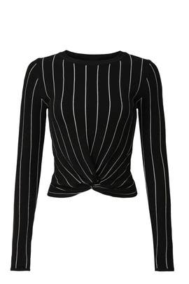 Pinstripe Knot Front Top by Victor Glemaud