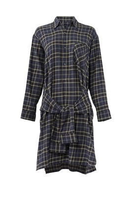 Plaid Tie Shirt Dress by VINCE.