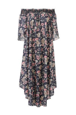Black Floral Shirring Maxi by Vilshenko