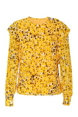 Yellow Printed Ruffle Blouse by Derek Lam 10 Crosby
