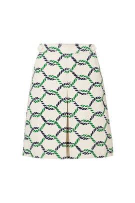 Green Printed Pier Skirt by Tory Burch