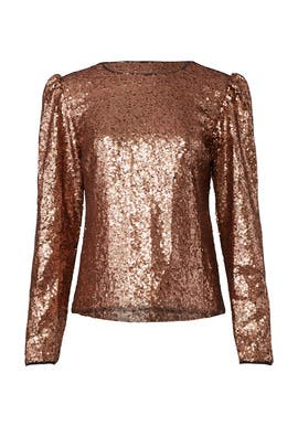 Rose Gold Sequin Top by Nicole Miller