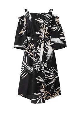 Black Leaf Print Dress by N Natori