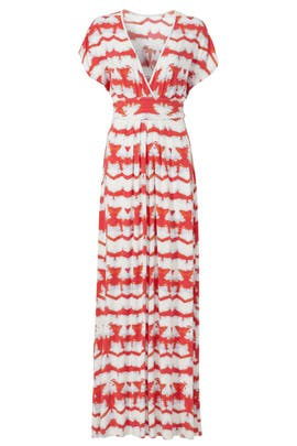 Orange Printed Stripe Maxi Dress by TART Collections