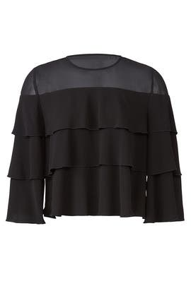 Black Ruffle Tier Top by ella moss