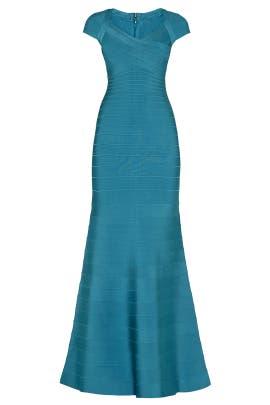 Teal Cap Sleeve Mermaid Gown by Hervé Léger