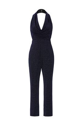 Navy Cowl Neck Jumpsuit by Harlyn