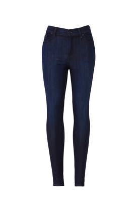Medium Blue High Rise Skinny Jeans by Mott & Bow