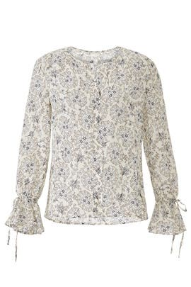 Collarless Bell Sleeve Blouse by Derek Lam 10 Crosby