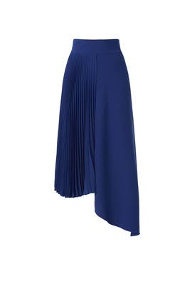 Blue Asymmetrical Pleated Skirt by Mossi