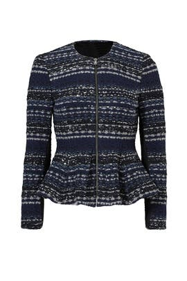 Navy Lurex Tweed Jacket by Rebecca Taylor