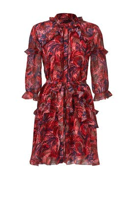 Red Feather Tilly Ruffle Dress by SALONI