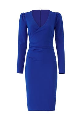 Blue Faux Wrap Sheath by Slate & Willow