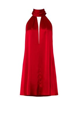 Deep Red Sash Dress by GALVAN