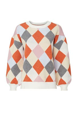 Colorblock Argyle Diamond Sweater by J.O.A.