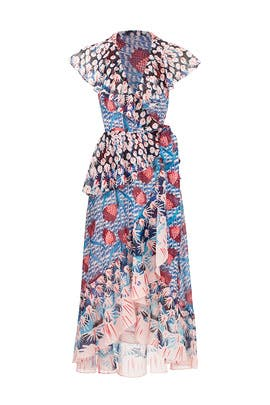 Garden Cacti Printed Wrap Dress by Temperley London